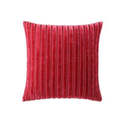 Morgan Home 18 in. Scarlett Red Stripe Throw Pillow Cover