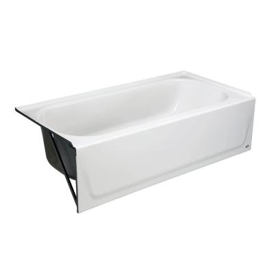 Maui 60 in. Left Drain Rectangular Alcove Soaking Bathtub in White