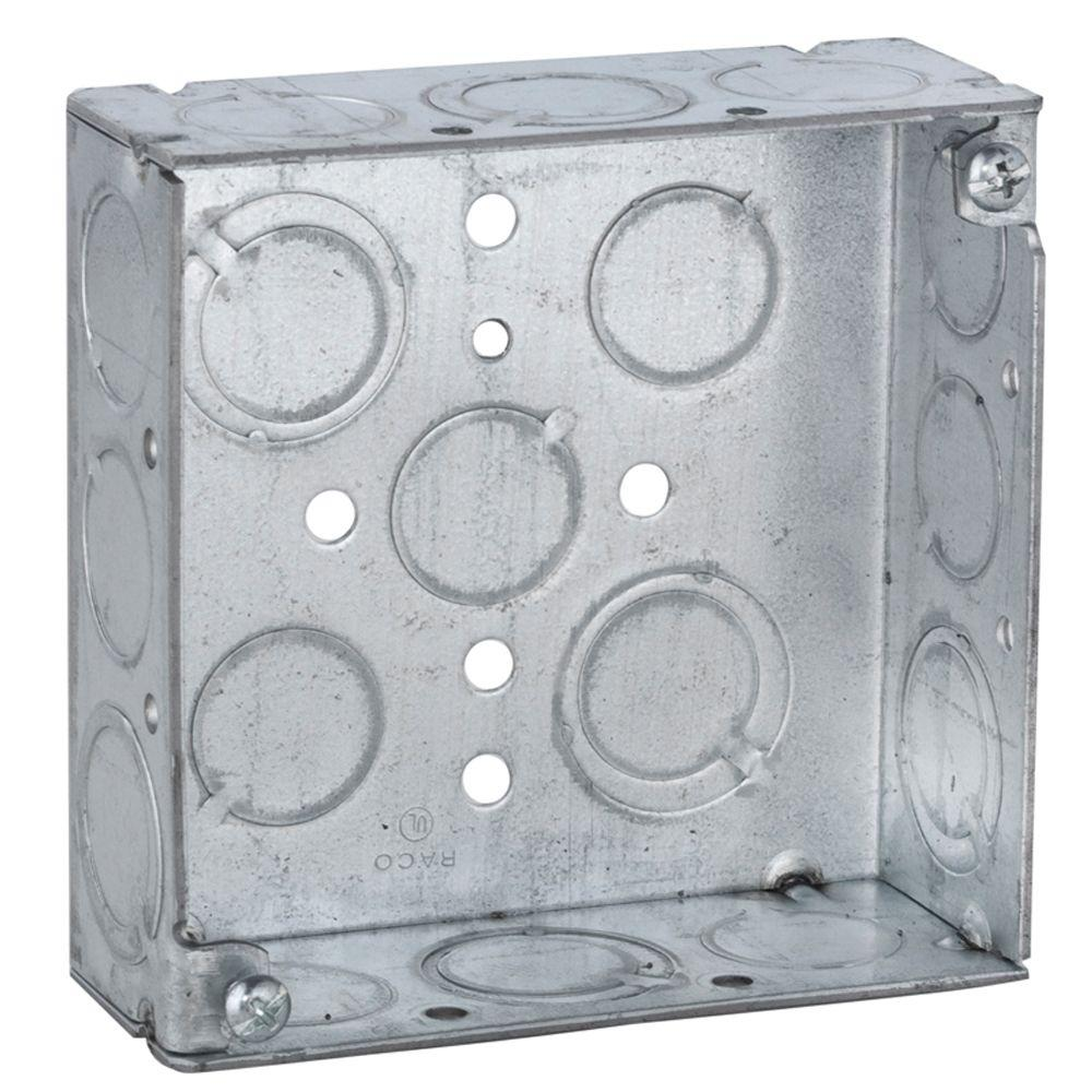 4 in. Square Welded Box, 1-1/2 Deep with 1/2 & 3/4