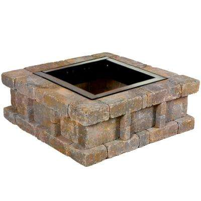 RumbleStone 38.5 in. x 14 in. Square Concrete Fire Pit Kit No. 2 in Sierra Blend