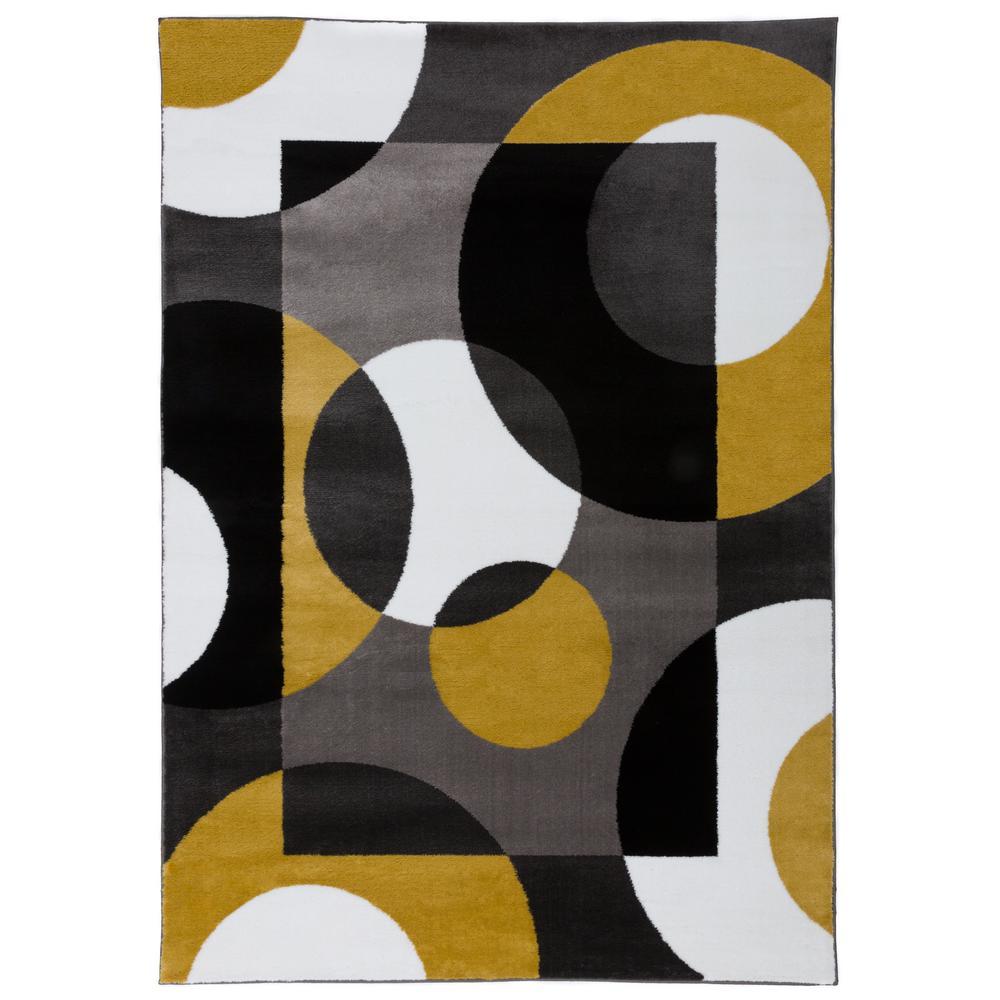 Modern Circles Gray Yellow Area Rug