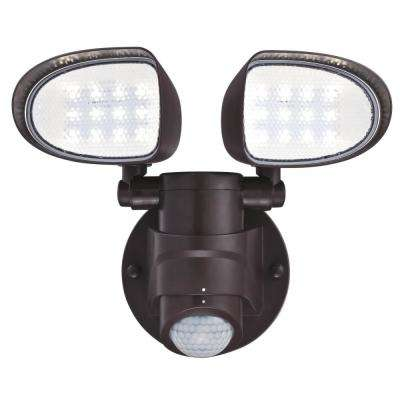 18-Watt 180-Degree Bronze Motion Activated Outdoor Integrated LED Flood Security Light