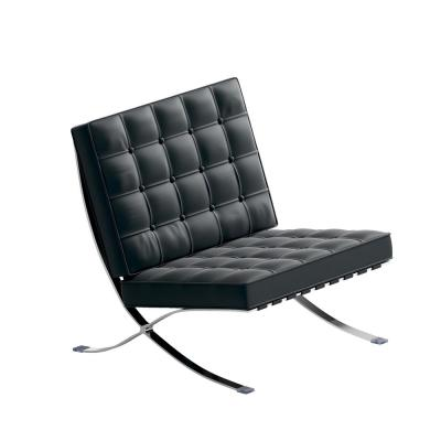 Barcelona Chair Genuine Leather Chair Premium Reproduction Barcelona Black Chair Stainless Frame Accent Chair