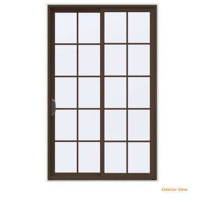 60 in. x 96 in. V-4500 Contemporary Brown Painted Vinyl Left-Hand 10 Lite Sliding Patio Door w/White Interior
