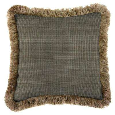 Sunbrella Surge Charcoal Square Outdoor Throw Pillow with Heather Beige Fringe