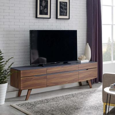 Scope 71 in. Walnut and Gray Wood TV Stand with 6 Drawer Fits TVs Up to 71 in. with Cable Management