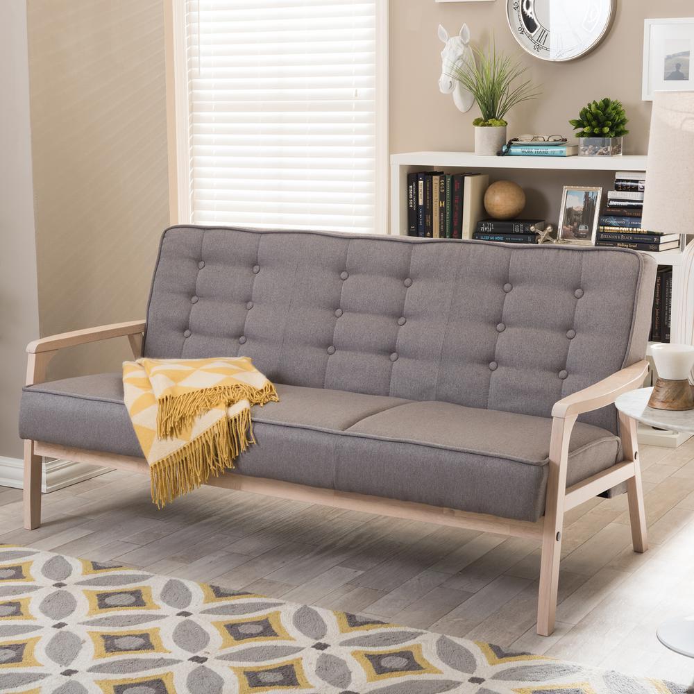 Baxton Studio Timor Mid-Century Gray Fabric Upholstered Sofa by Baxton Studio
