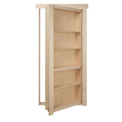 32 in. x 80 in. Assembled Unfinished Maple Flush Mount Bookcase Wood Single Prehung Interior Door
