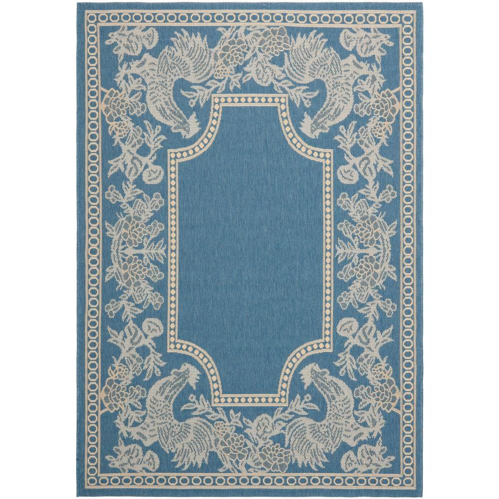 Courtyard Blue/Natural 8 ft. x 11 ft. Indoor/Outdoor Area Rug