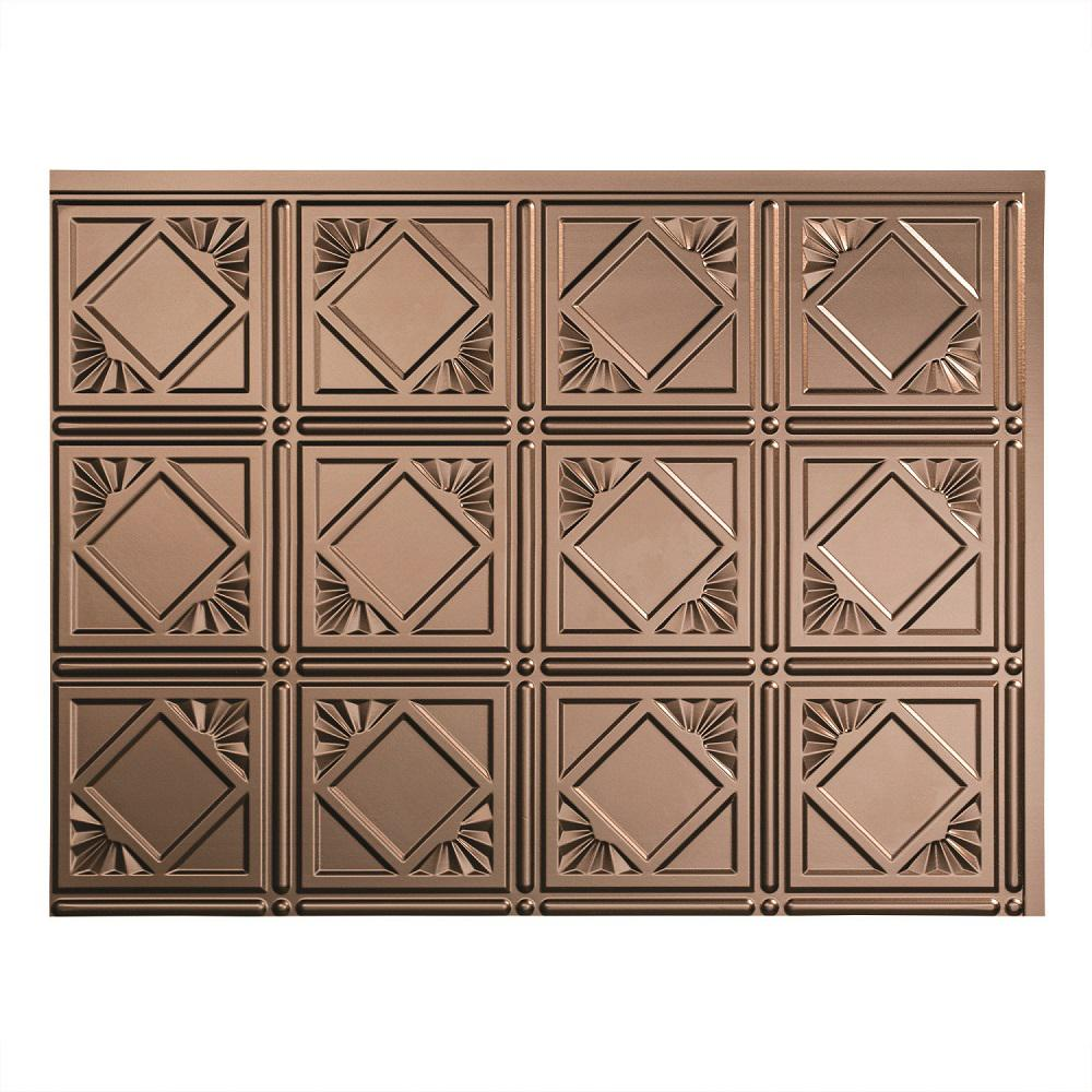 Fasade 24 in. x 18 in. Traditional 4 PVC Decorative Backsplash Panel in Argent Bronze
