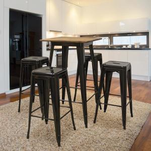 Fantastic Amerihome 5 Piece Pub Height Black Table Set With Rosewood Caraccident5 Cool Chair Designs And Ideas Caraccident5Info