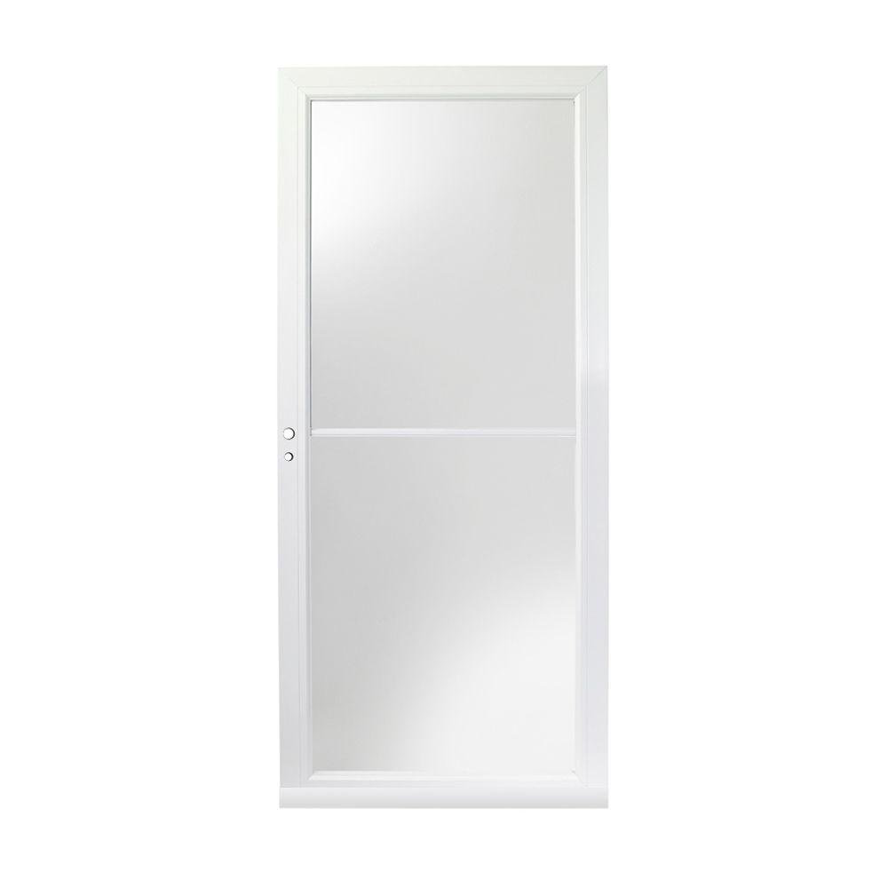 Andersen 36 in. x 80 in. 3000 Series White Left-Hand Self-Storing Easy Install Aluminum Storm Door