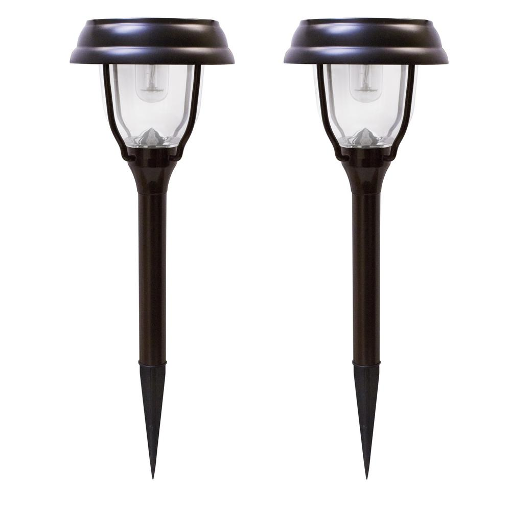 gama sonic solar powered brown outdoor integrated led landscape garden path light 2 pack gsg2. Black Bedroom Furniture Sets. Home Design Ideas