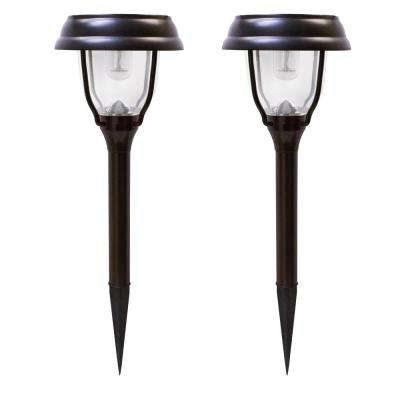 Solar Powered Brown Outdoor Integrated LED Landscape Garden Path Light (2-Pack)