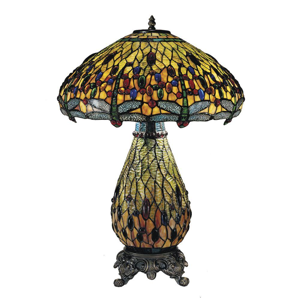 Dale Tiffany 26.5 in. Ridesia Jeweled Dragonfly Antique Brass Table Lamp