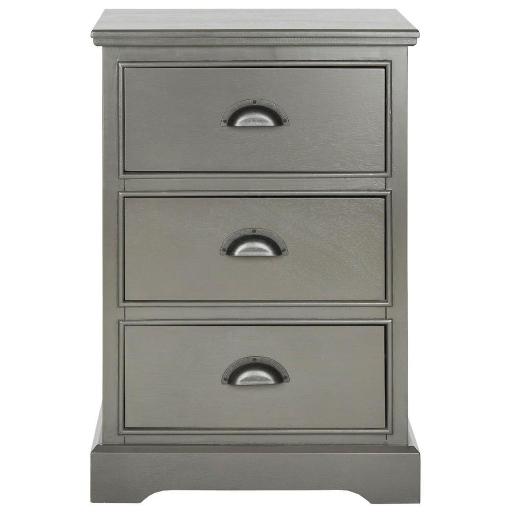 Safavieh Griffin Gray Storage Side Table Amh5717a The Home Depot