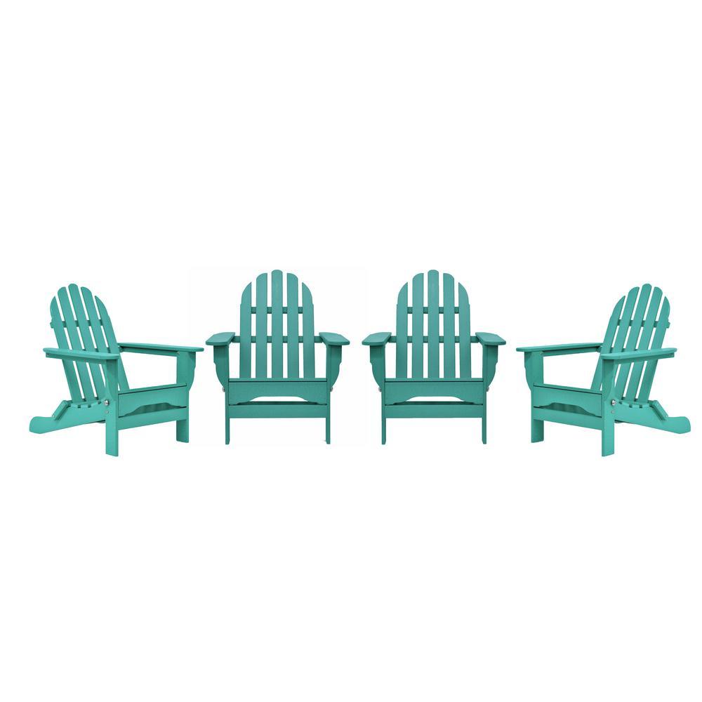 Icon Aruba 4-Piece Plastic Adirondack Chair Patio Seating Set