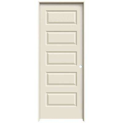 30 in. x 80 in. Rockport Primed Left-Hand Smooth Molded Composite MDF Single Prehung Interior Door