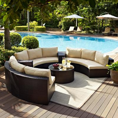 Catalina 6-Piece Wicker Outdoor Sectional Set with Sand Cushions