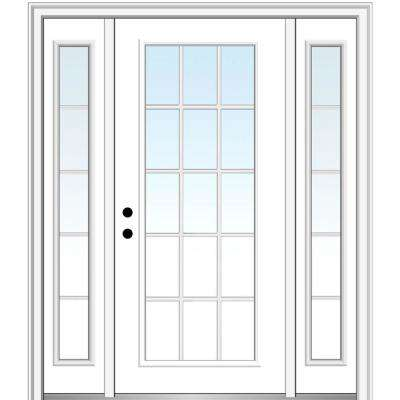 68.5 in. x 81.75 in. Internal Grilles Right-Hand Inswing Full Lite Clear Painted Steel Prehung Front Door with Sidelites