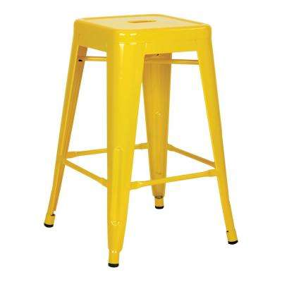 24 in. Yellow Steel Backless Barstool (4-Pack)