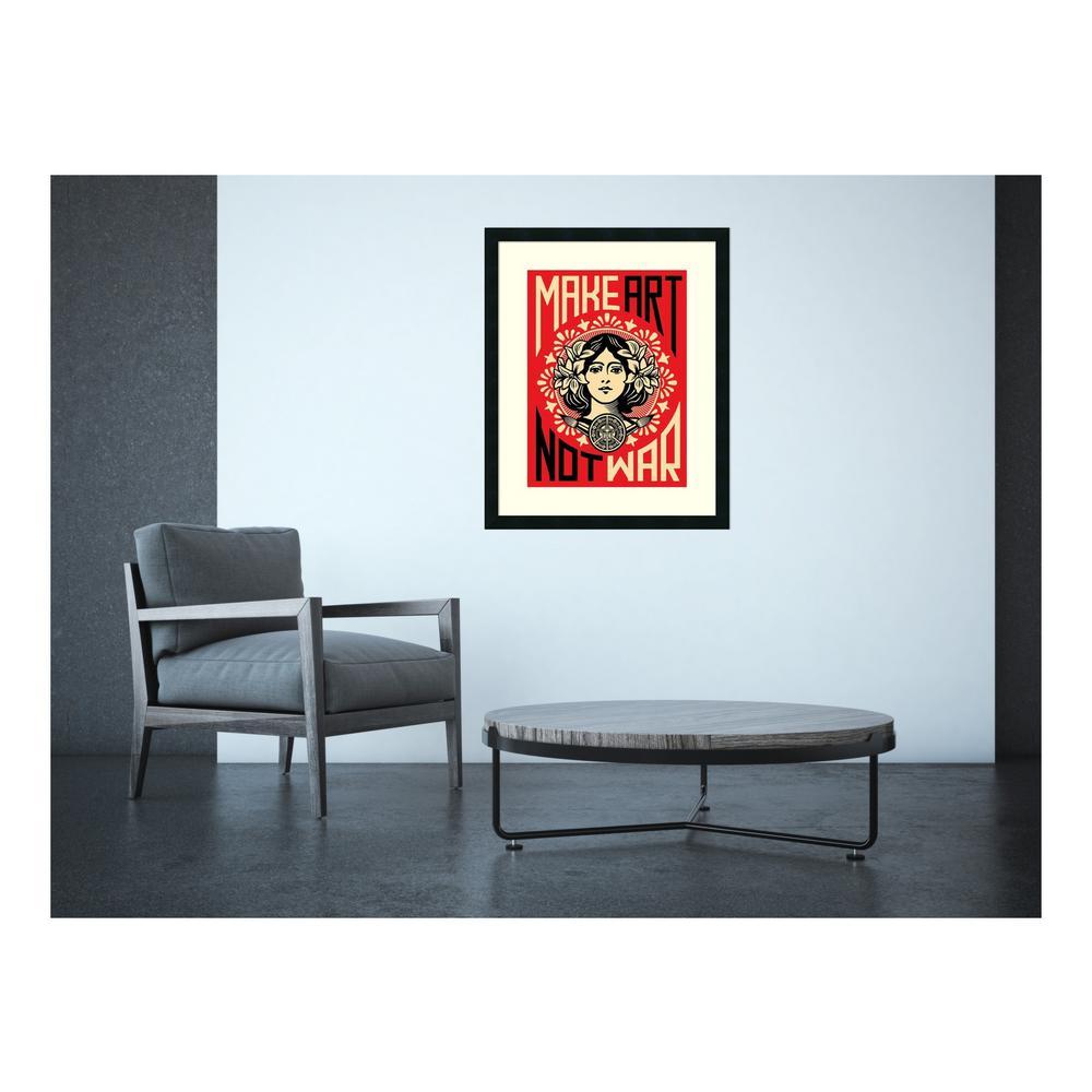 Amanti Art 24 inch x 30 inch Outer Size 'Make Art Not War' by Shepard Fairey Framed Art Print by Amanti Art