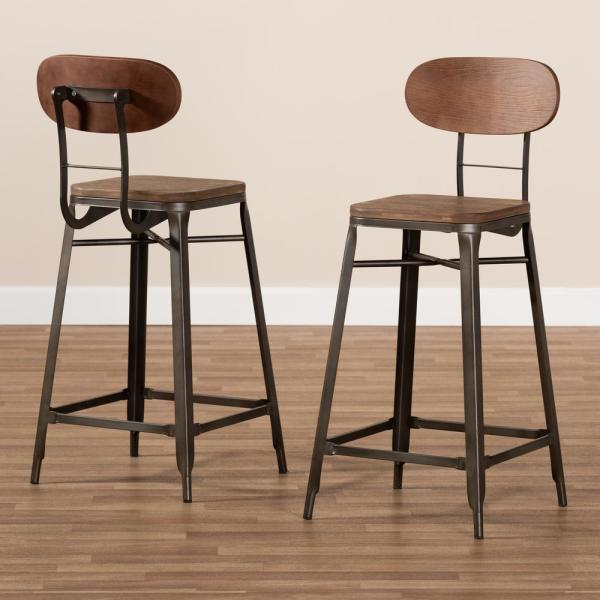 """WOOD//LEATHER BARSTOOL BROWN 32/"""" BAR//COUNTER STOOL -BROOKLYN-SET OF 2 NEW"""