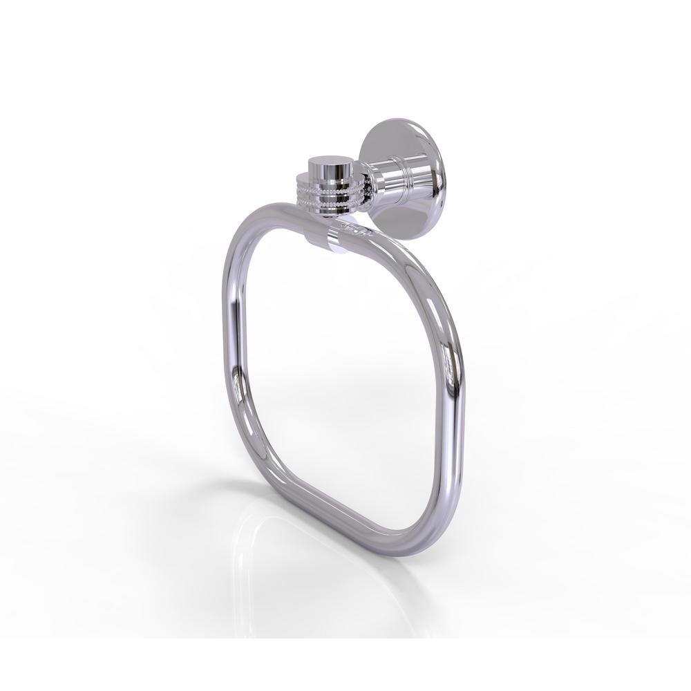 Continental Collection Towel Ring with Dotted Accents in Polished Chrome
