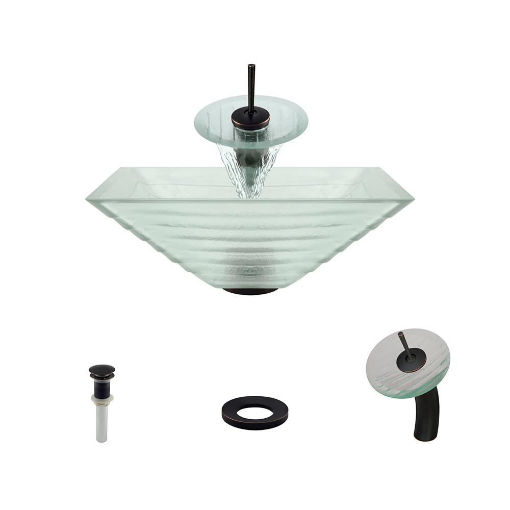 Mr Direct Gl Vessel Sink In Tiered With Waterfall Faucet And Pop Up Drain Antique Bronze