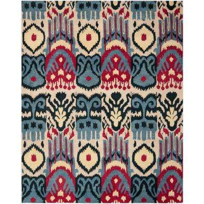 Ikat Beige/Blue 8 ft. x 10 ft. Area Rug
