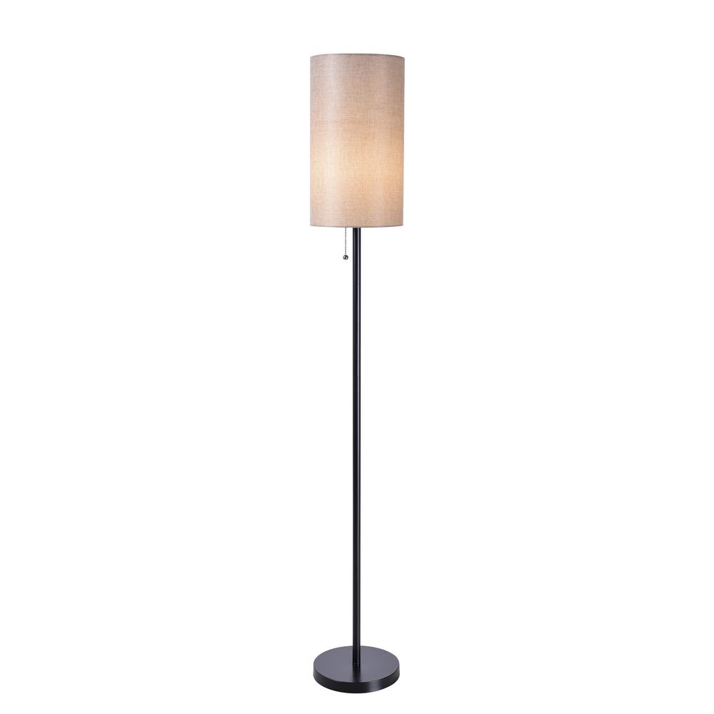 Kenroy home wylie 56 in black floor lamp with tan drum shade black floor lamp with tan drum shade aloadofball Image collections