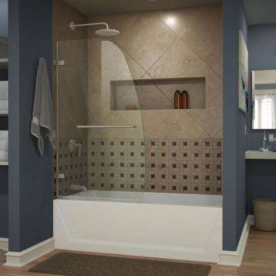 Aqua Uno 34 in. x 58 in. Frameless Pivot Tub Door in Brushed Nickel