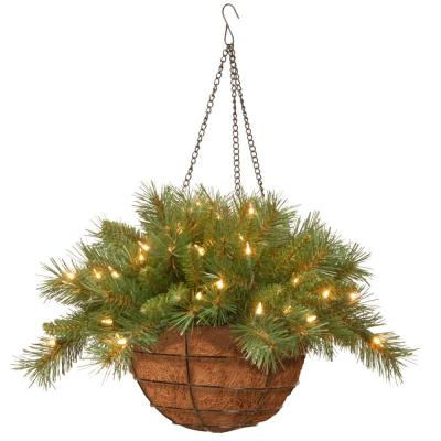 20 in. Tiffany Fir Hanging Basket with Battery Operated Warm White LED Lights