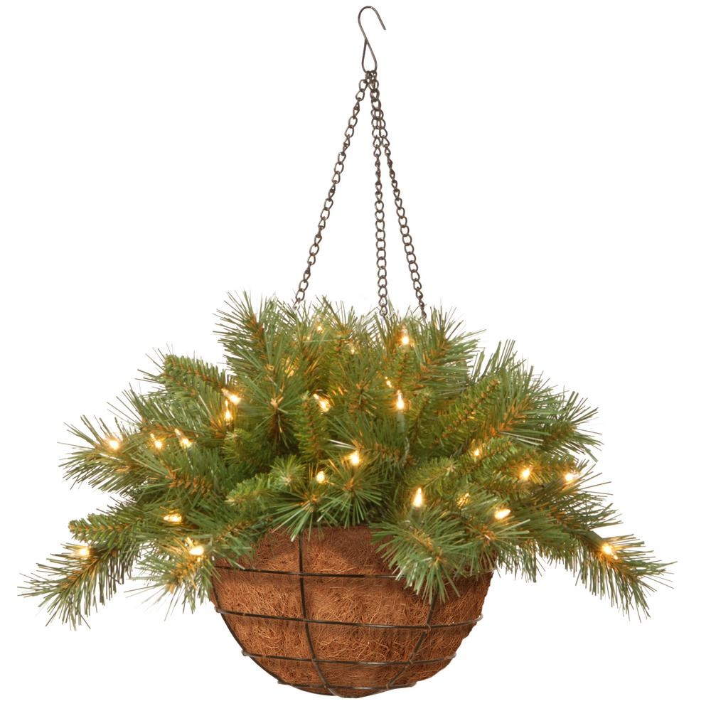 20 in. Tiffany Fir Hanging Basket with Battery Operated Warm White
