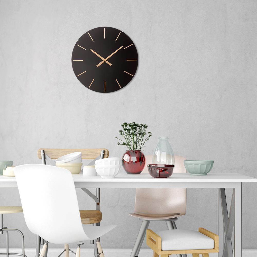 Modern Minimalist Black and Gold Wall Clock