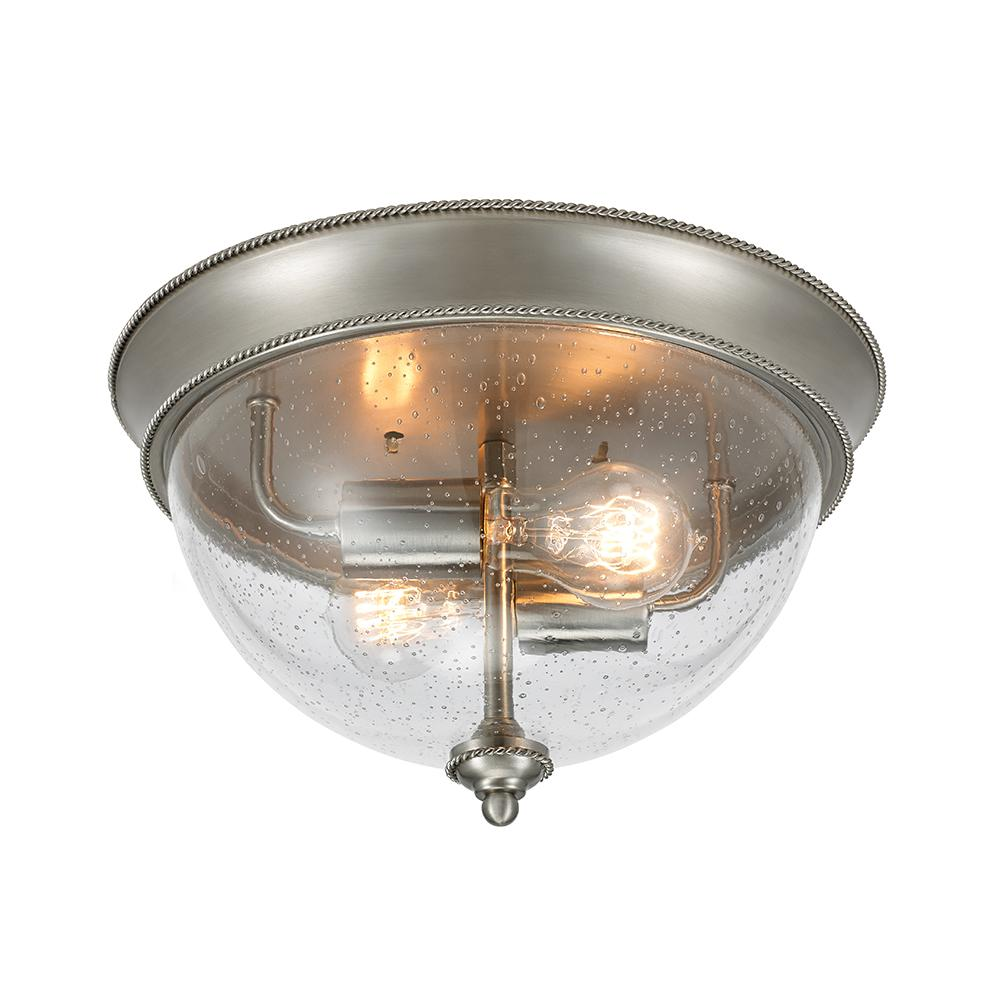 2 Light Brushed Nickel 13 In Flush Mount Ceiling