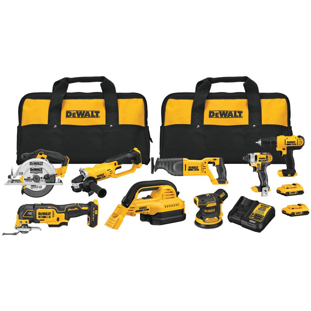 DEWALT 20-Volt MAX Combo Kit (8-Tool) with 2-Batteries 2 Ahr, Charger and 2-Bags was $799.0 now $549.0 (31.0% off)