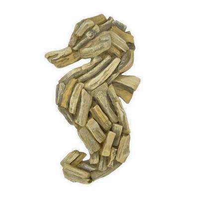 12 in. Brown Wood Look Seahorse Wall Decor