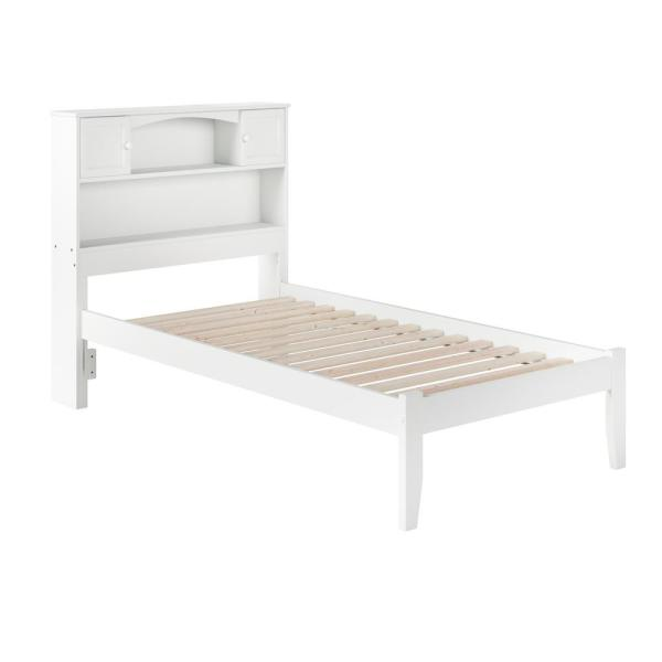 Newport White Twin Platform Bed with Open Foot Board