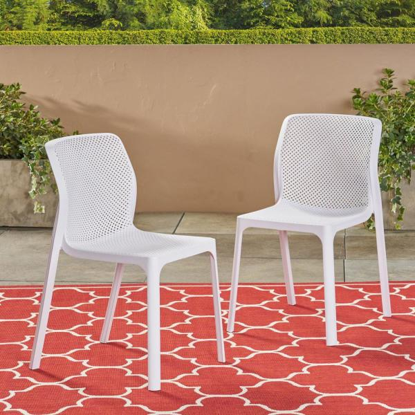 Labaron White Stackable Plastic Outdoor Lounge Chairs (2-Pack)