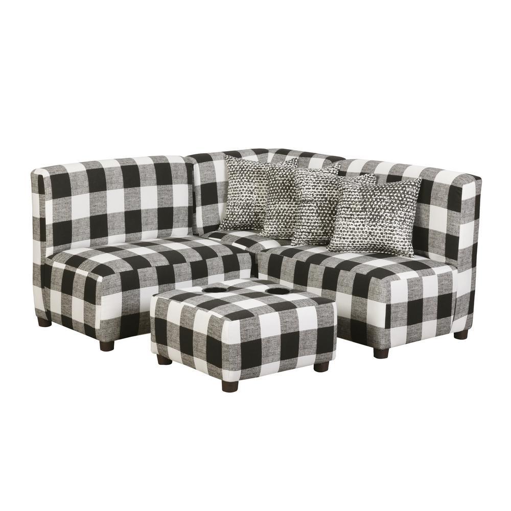 Jack Juvenile Kids Black And White Buffalo Check Upholstered Sectional Sofa Set