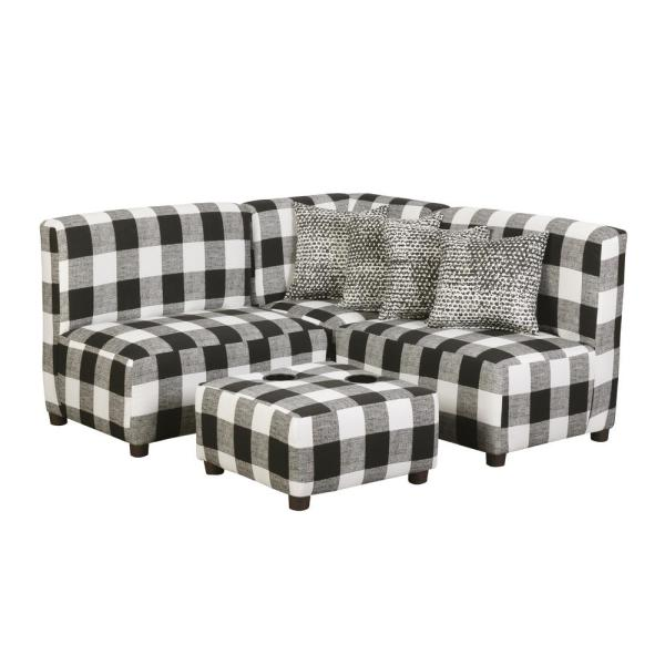 Jack Juvenile Kids Black and White Buffalo Check Upholstered Sectional Sofa