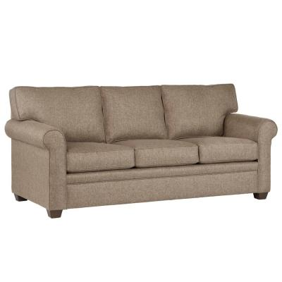 Baxter 89 in. Brown Revolution Fabric 3-Seater English Rolled Arm Sofa with Round Arms
