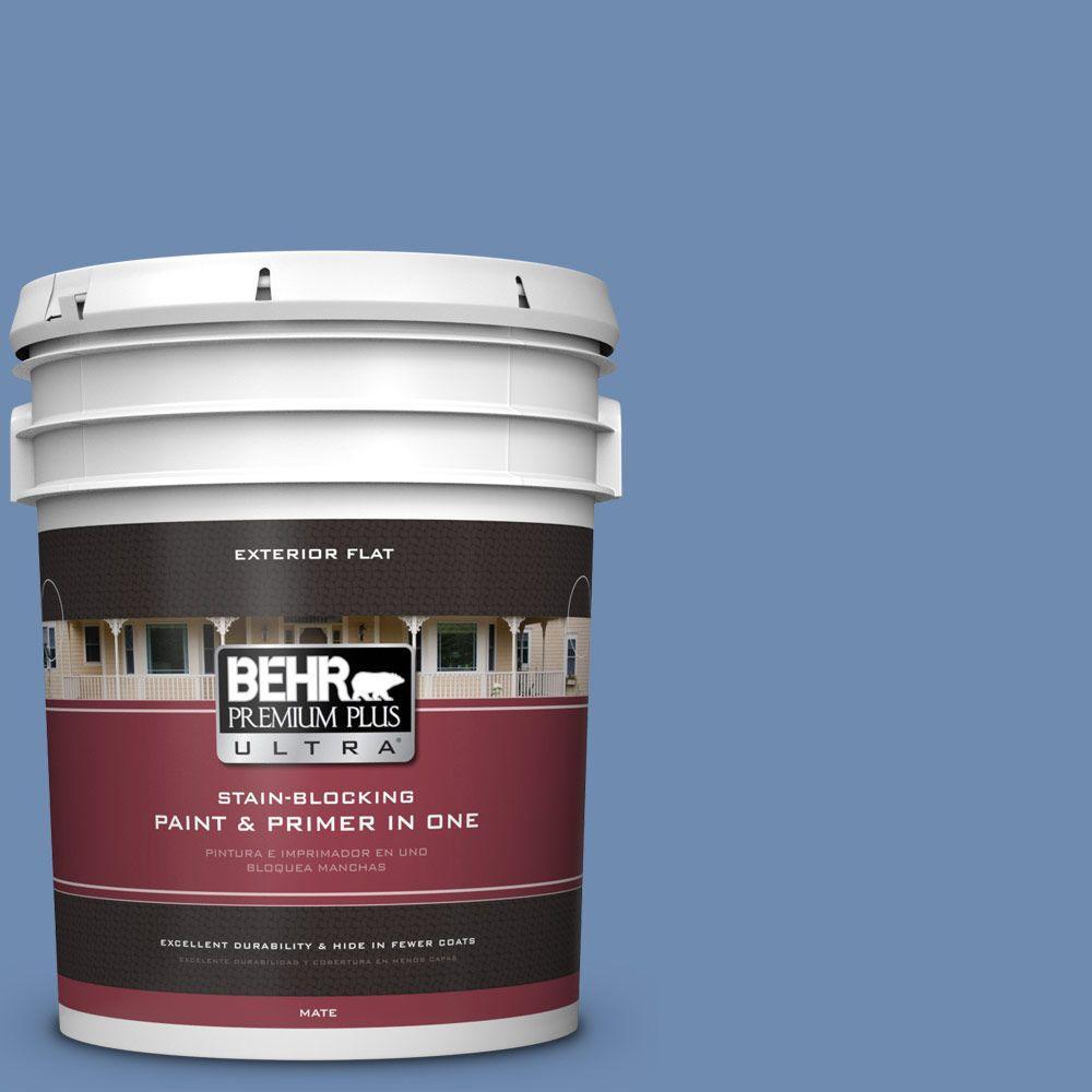BEHR Premium Plus Ultra 5-gal. #590D-5 Windsurf Blue Flat Exterior Paint