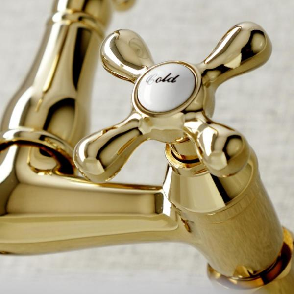 Kingston Brass Vintage 2 Handle Wall Mount Standard Kitchen Faucet In Polished Brass Hks3222ax The Home Depot