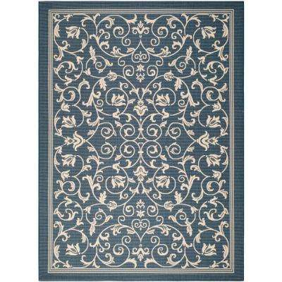 Courtyard Navy/Beige 8 ft. x 11 ft. Indoor/Outdoor Area Rug