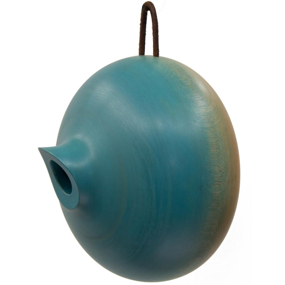 8 in. Blue Mango Wood Ellipse Bird House