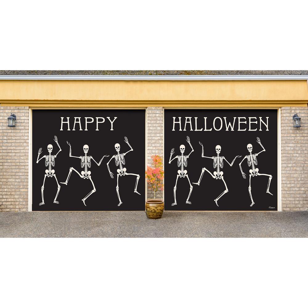 7 ft. x 8 ft. Happy Halloween Halloween Garage Door Decor Mural for Split Car Garage
