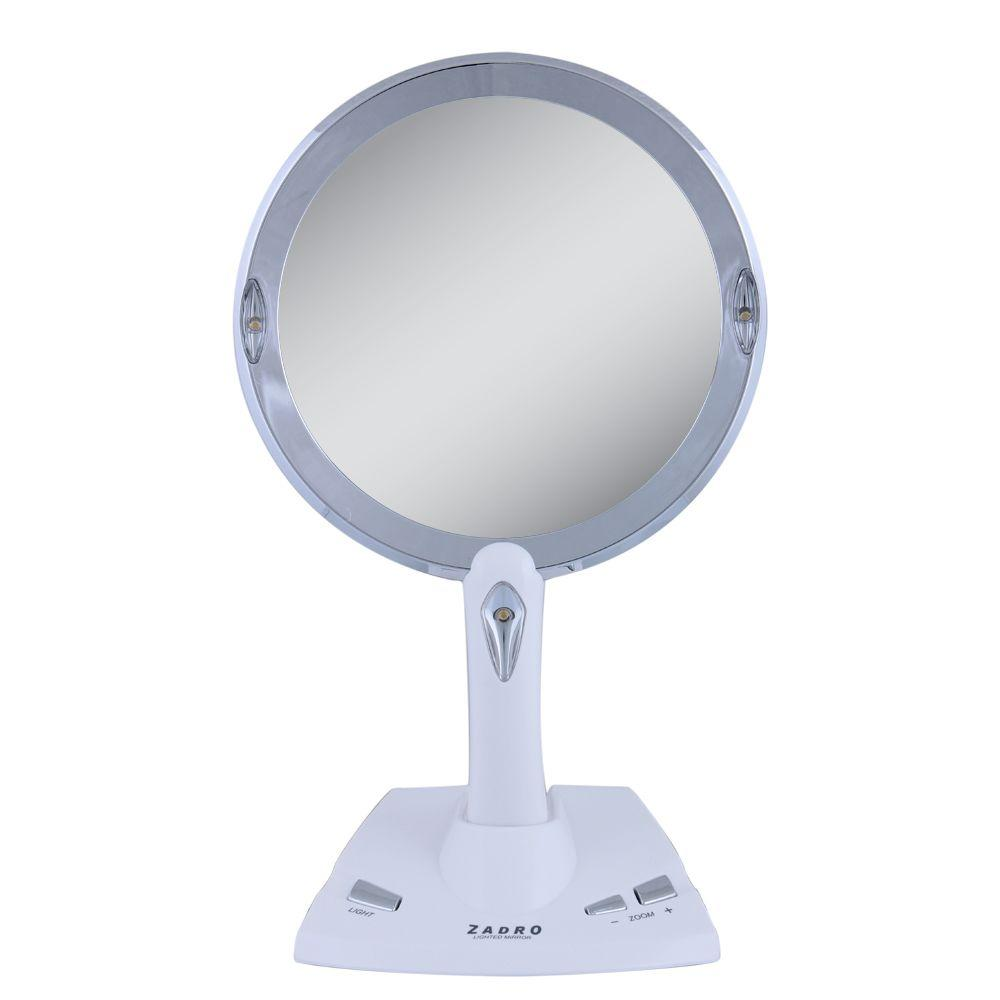 Zadro Lighted 5X/1X Power Zoom Vanity Mirror in White