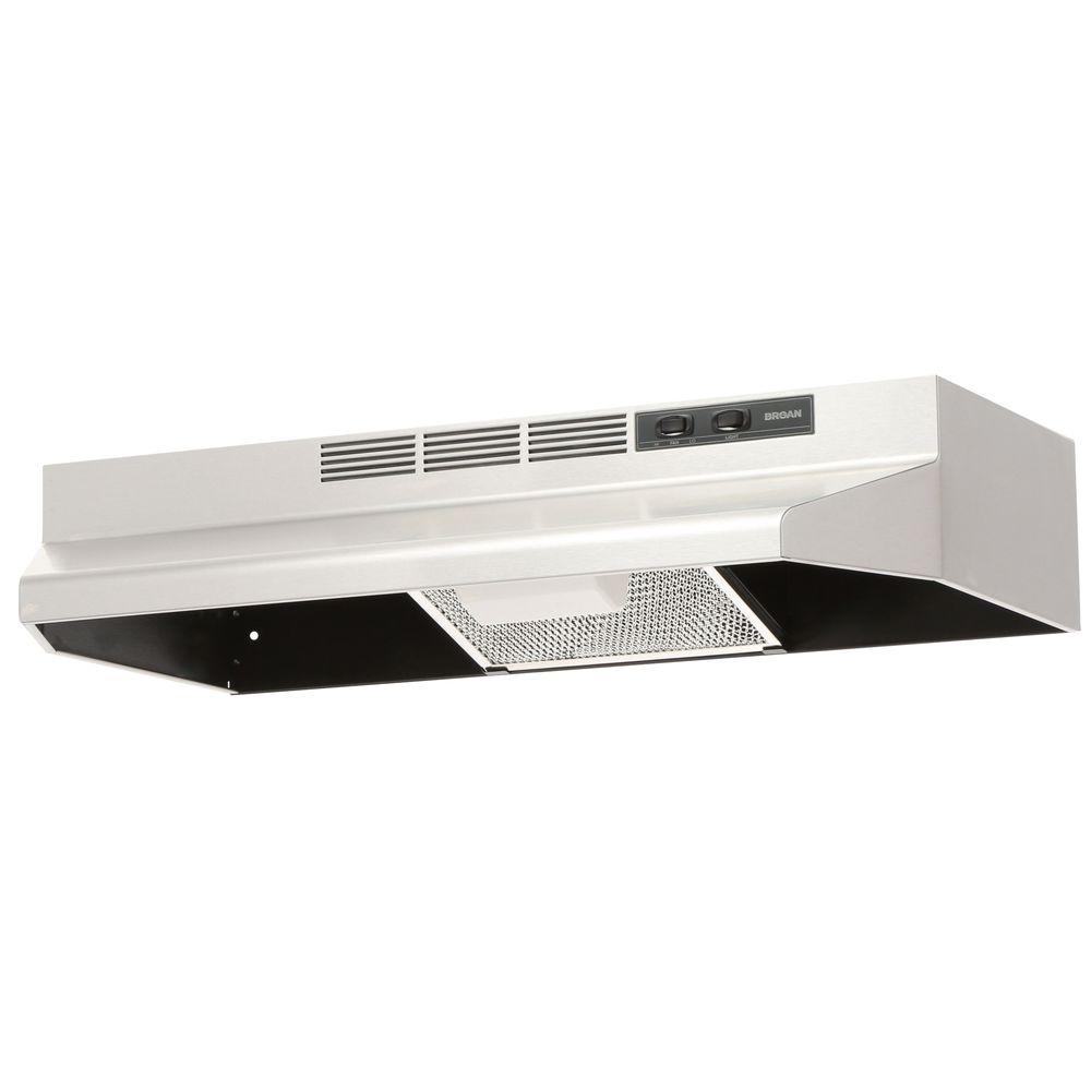 Broan 41000 Series 30 In Ductless Under Cabinet Range Hood With Light Stainless Steel
